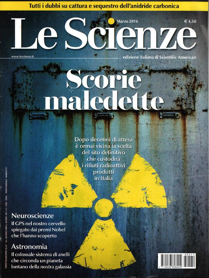 le scienze marzo 2016 Scorie Maledette deposito nazionale nucleare